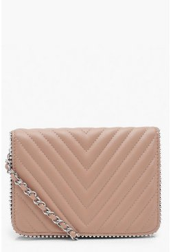 Blush Chevron Quilted Bead Cross Body Bag & Chain