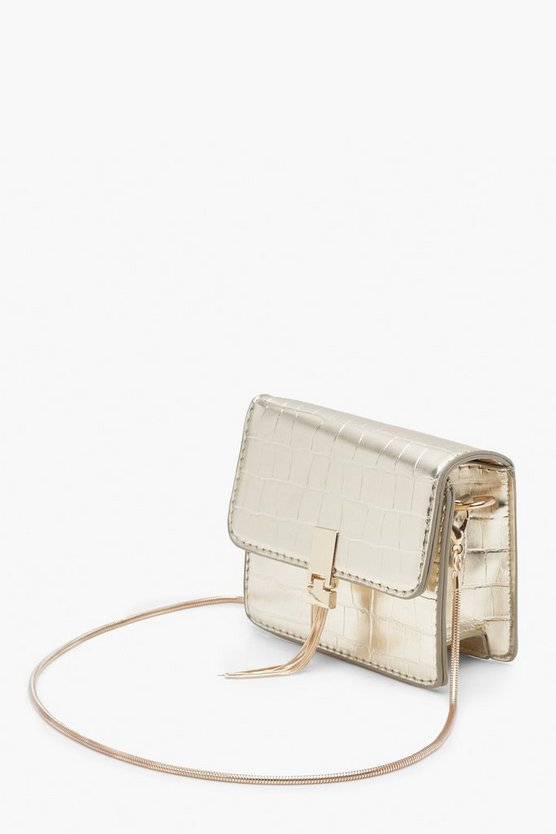 Croc Metal Tassel Cross Body Bag