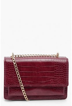 Womens Burgundy Croc Structured Cross Body Bag & Chain