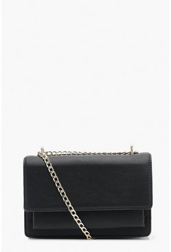 Dam Black Smooth PU Structured Cross Body Bag & Chain