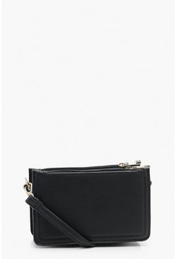 Dam Black Smooth PU Triple Pocket Cross Body Bag