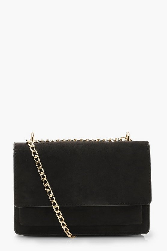 Womens Black Suedette Structured Cross Body Bag & Chain