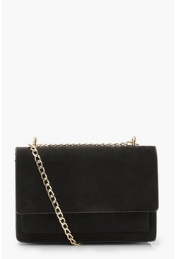 Black Suedette Structured Cross Body Bag & Chain