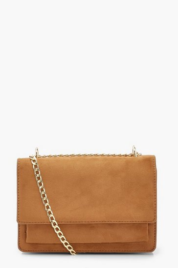 Tan Suedette Structured Cross Body Bag & Chain
