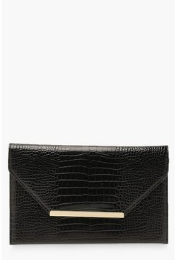 Black Croc Clutch Bag With Bar