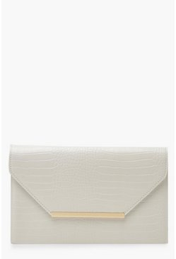 White Croc Clutch Bag With Bar