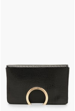 Black Croc Metal Circle Clutch Bag With Chain
