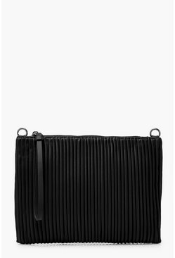 Black Pleated PU Zip Top Clutch Bag