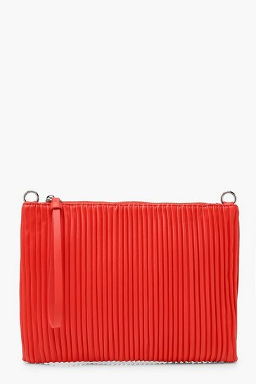 Red Pleated PU Zip Top Clutch Bag