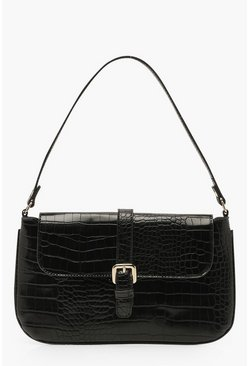 Womens Black Croc Buckle Detail Underarm Bag