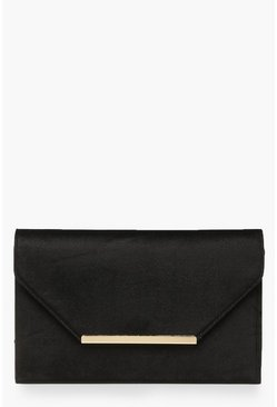 Black Bar Velvet Clutch Bag