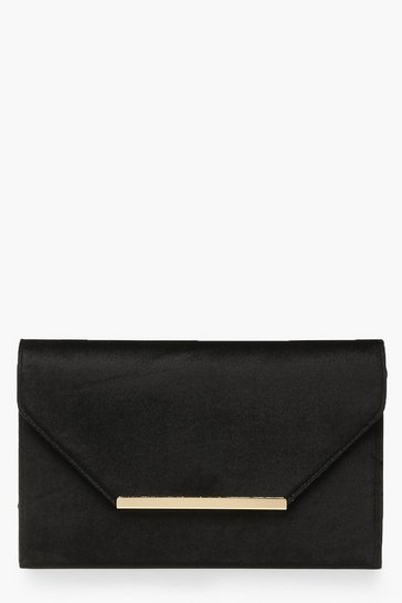 Womens Black Bar Velvet Clutch Bag
