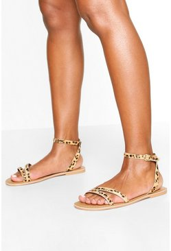 Wide Fit Leopard Leather 2 Part Sandals
