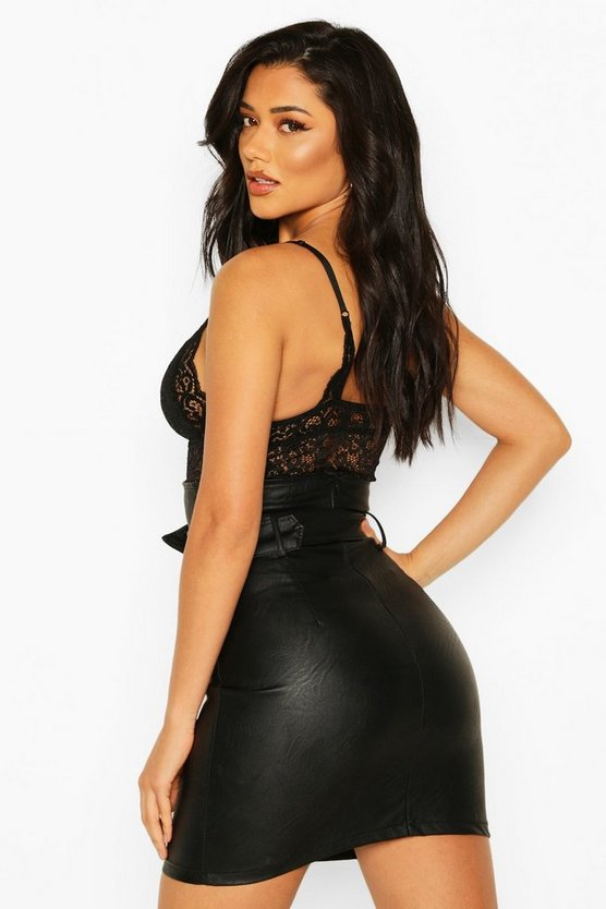 High Waist Belted Leather Look Skirt