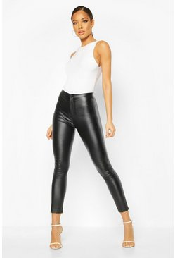 Black Coated Super Stretch Skinny Highwaist Trousers