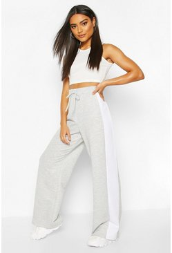 Grey marl Wide Leg Contrast Panel Loopback Jogger