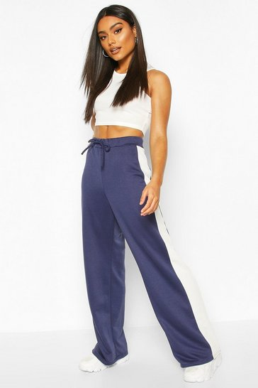 Navy Wide Leg Contrast Panel Loopback Jogger