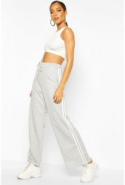 Grey marl Wide Leg Double Side Stripe Loopback Jogger