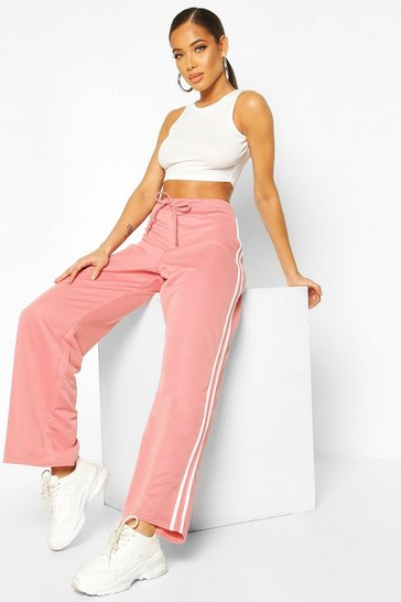 Rose Wide Leg Double Side Stripe Loopback Jogger