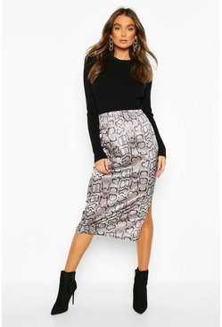 Grey Snake Print Side Split Midi Skirt