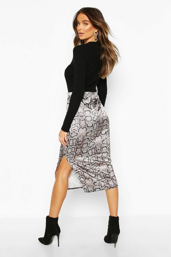Snake Print Side Split Midi Skirt
