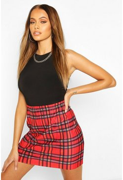 Red Tartan Check Plisse Mini Skirt