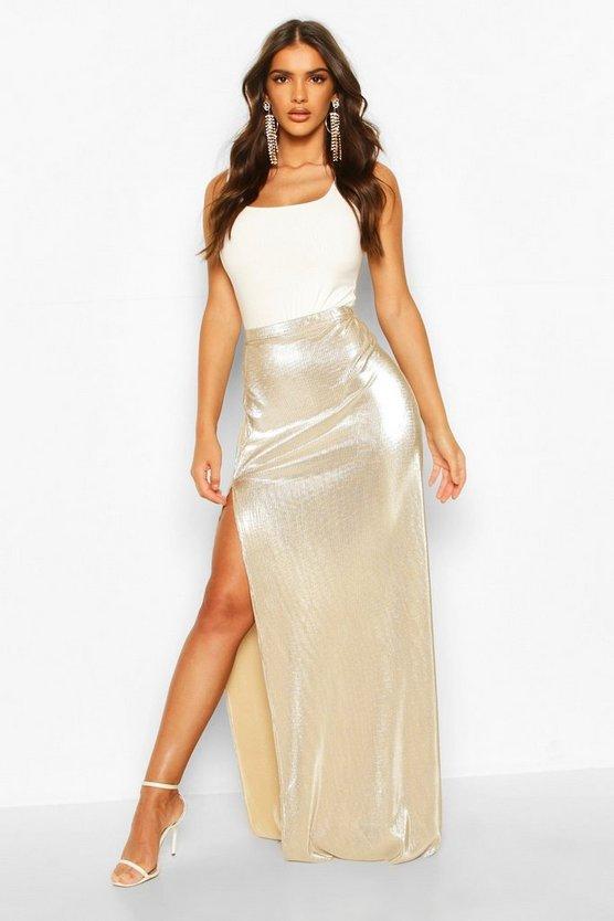 Metallic Plisse Thigh Split Maxi Skirt
