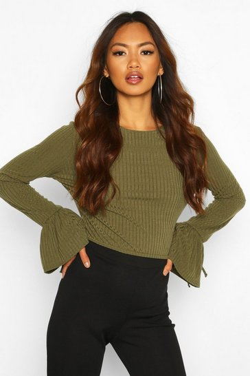 Womens Khaki Crew Neck Chunky Rib Top With Tie Detail Cuff