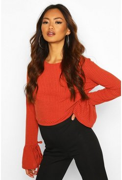 Rust Crew Neck Chunky Rib Top With Tie Detail Cuff
