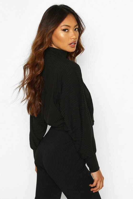 Turtle Neck Batwing Top