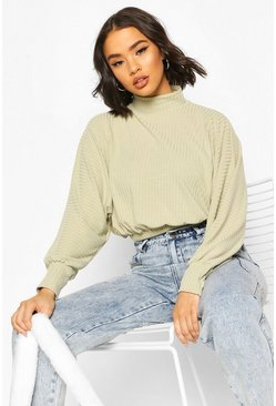 Sage Turtle Neck Batwing Top