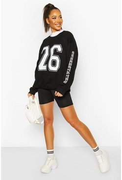 Black Collegiate Print Oversized Sweat