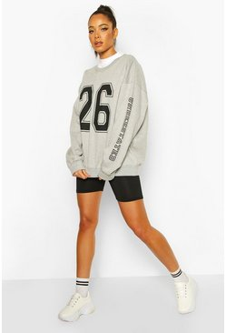 Womens Grey Collegiate Print Oversized Sweat