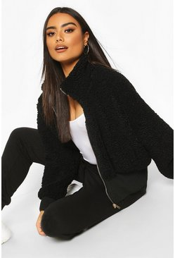 Black Teddy Faux Fur Funnel Neck Bomber Jacket