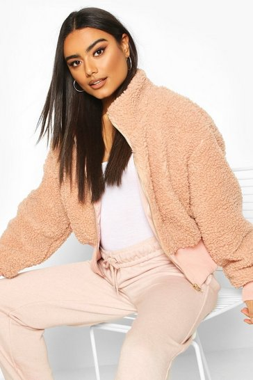 Peach Teddy Faux Fur Funnel Neck Bomber Jacket