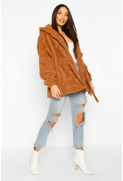 Camel Oversized Hooded Belted Faux Fur Teddy Coat