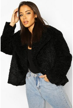 Black Waterfall Collar Teddy Coat