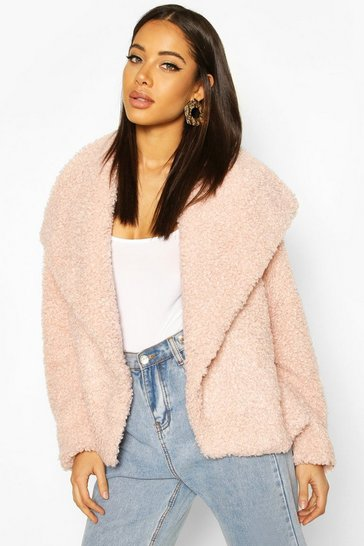 Rose Waterfall Collar Teddy Coat