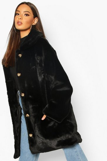 Black Oversized Collared Faux Fur Coat