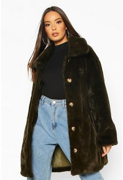 Oversized Fake-Fur-Mantel mit Kragen, Khaki