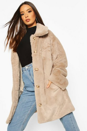 Mink Oversized Collared Faux Fur Coat