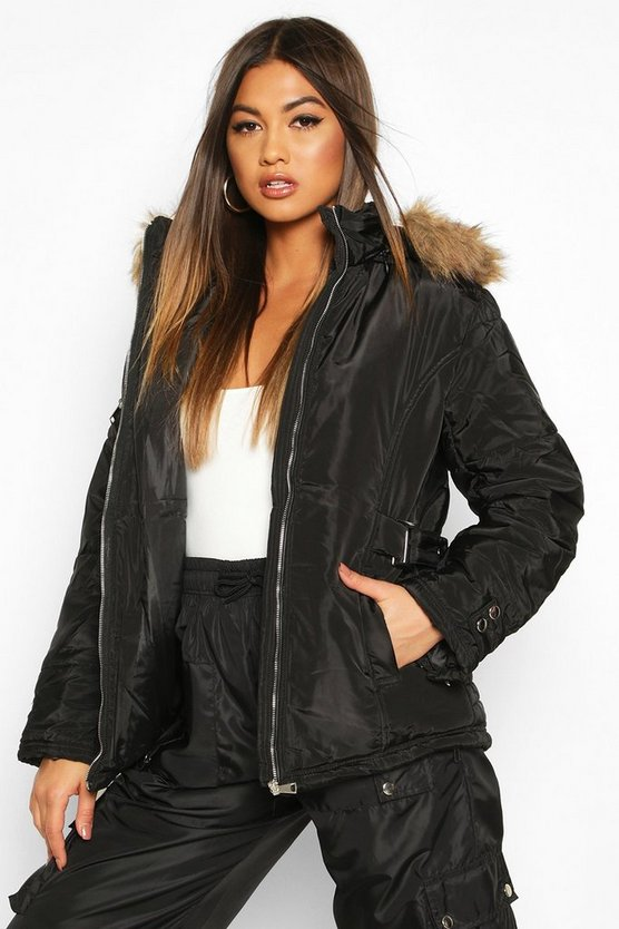 Womens Black Waist Detail Puffer Jacket