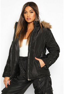 Black Waist Detail Puffer Jacket