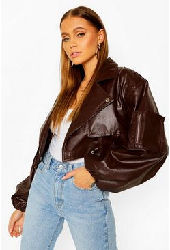 Chocolate Extreme Sleeve Leather Look Cropped Jacket