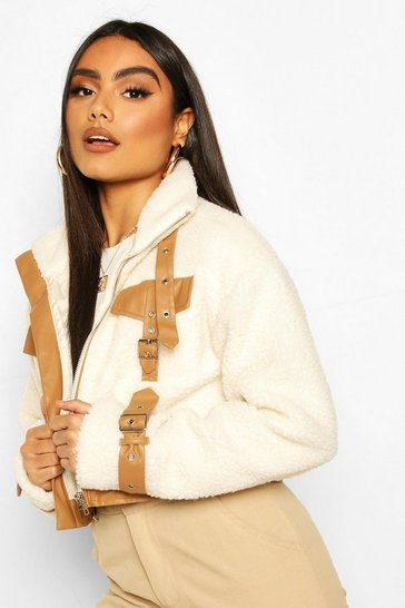 Cream Teddy Faux Fur Buckle Detail Cropped Jacket