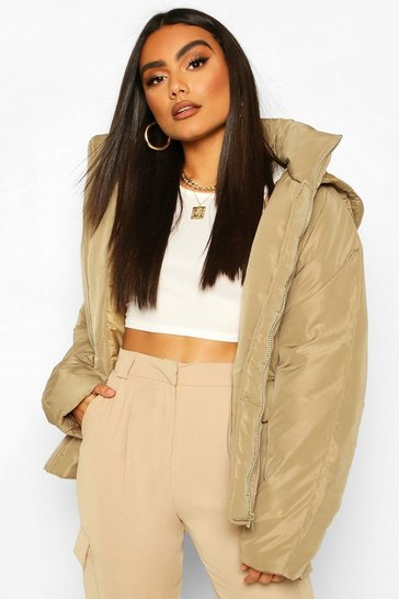 Olive Double Pocket Puffer Jacket