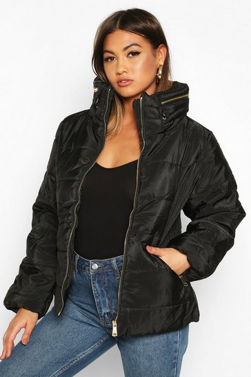 Womens Black Funnel Neck Fitted Puffer Jacket