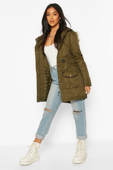 Womens Khaki Faux Fur Trim Parka Jacket