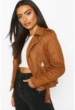 Tan Faux Fur Lined Suedette Biker