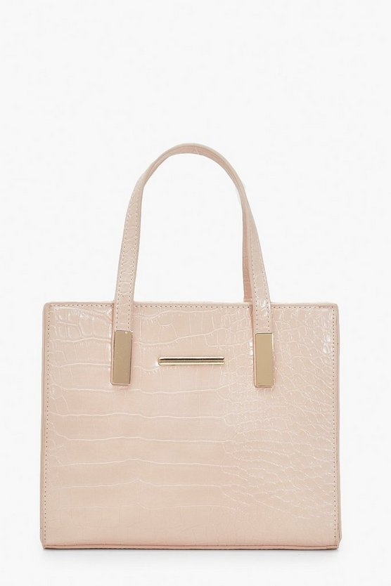 Womens Blush Croc Mini Tote Bag